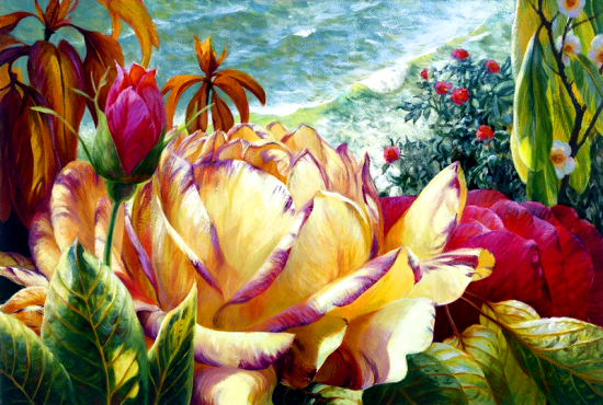 Картина по номерам 40x50 Нежный цветок розы крупным планом