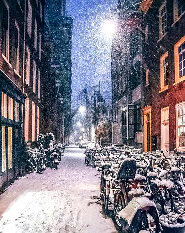 Алмазная мозаика 40x50 Метель в ночном городе